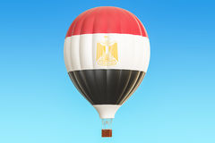 Hot air balloon with Egypt flag, 3D. Can with golden paint and brush, 3D rendering Stock Images