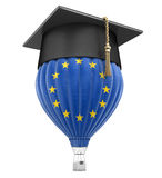Hot Air Balloon with Europian Union Flag and Graduation cap. Image with clipping path Royalty Free Stock Photos