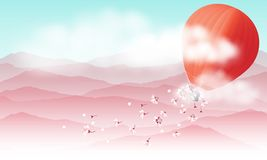 Hot air balloon and falling pink flowers. Hot air balloon and clouds flying over the sweet pink mountains landscape and spread pink cherry flower blossoms called stock illustration