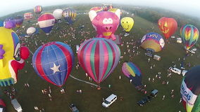 Hot air balloon festival aerial view stock video