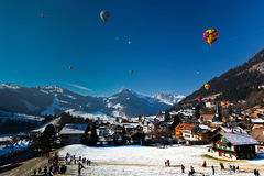 Hot Air Balloon Festival in Switzerland Stock Photography