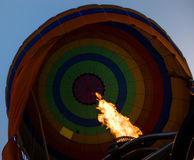 Hot Air Balloon. Balloon filling with hot air during flight Royalty Free Stock Photo