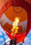 Hot-air balloon flames. Inside view of a hot-air balloon, and two flames heating the air from the balloon Stock Photography