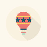 Hot Air Balloon flat icon with long shadow. Vector illustration file vector illustration