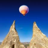 Hot air balloon flies in Cappadocia, Turkey Stock Photo