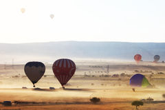 Hot air balloon flight in Cappadocia, Turkey. Hot air ballooning is very popular thanks to the amazing landscapes Royalty Free Stock Photos