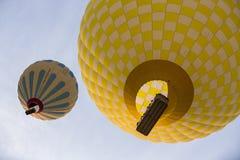 Hot air balloon flight in Cappadocia, Turkey. Goreme, Turkey - April 6: Hot air balloons flying over Cappadocia in Goreme, Turkey on April 6, 2014. The hot air Stock Photo