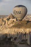 Hot air balloon flight in Cappadocia, Turkey. Goreme, Turkey - April 6: Hot air balloons flying over Cappadocia in Goreme, Turkey on April 6, 2014. The hot air Royalty Free Stock Image