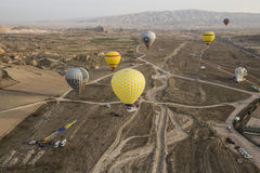 Hot air balloon flight in Cappadocia, Turkey. Stock Image