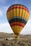 Hot air balloon flight in Cappadocia, Turkey. Goreme, Turkey - April 6: Hot air balloons flying over Cappadocia in Goreme, Turkey on April 6, 2014. The hot air Stock Photography