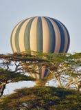 Hot air balloon in flight. Hot air balloon flying in Serengeti National Park Stock Images