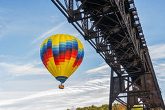 Hot Air Balloon In Flight At Letchworth State Park Stock Image