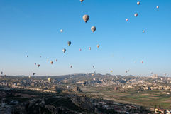 Hot air balloon fly over Cappadocia Royalty Free Stock Images
