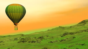 Hot air balloon flying upon the hill - 3D render stock video footage