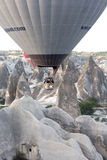 Hot air balloon flying over Cappadocia Stock Photo