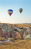Hot air balloon flying over Cappadocia Turkey Royalty Free Stock Image
