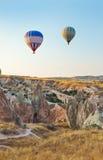 Hot air balloon flying over Cappadocia Turkey royalty free stock image