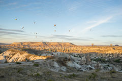 Hot air balloon flying over Cappadocia Royalty Free Stock Photography