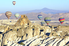 Hot air balloon flying over Cappadocia. Stock Image