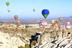 Hot air balloon flying over Cappadocia. Stock Images