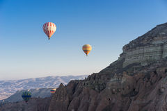 Hot air balloon flying over Cappadocia Stock Photography