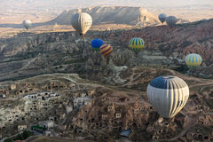 Hot air balloon flying over Cappadocia Royalty Free Stock Photos