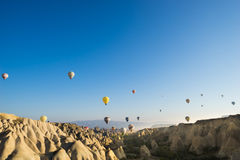 Hot air balloon flying over Cappadocia. In Turkey Stock Photos