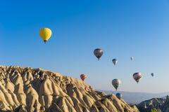 Hot air balloon flying over Cappadocia Stock Photography
