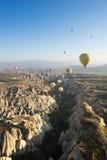 Hot air balloon flying over Cappadocia Royalty Free Stock Photos