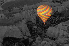 Hot air balloon flying over Cappadocia Turkey Royalty Free Stock Photos