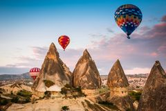 Hot air balloon flying over Cappadocia, Turkey Royalty Free Stock Photography