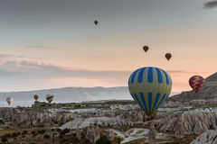 Hot air balloon flying over Cappadocia, Turkey Royalty Free Stock Image