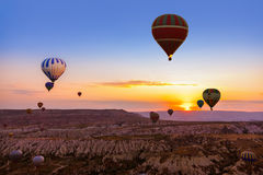 Hot air balloon flying over Cappadocia Turkey Stock Images