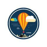 Hot air balloon flying over the mountain. Icons of traveling, planning a summer vacation, tourism and journey objects Stock Photography