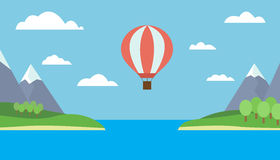 Hot air balloon flying over the sea royalty free illustration