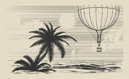 Hot air balloon flying over seashore Royalty Free Stock Photos