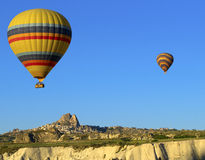 Hot Air Balloon Flying. A photo of a hot air balloon in flight Stock Image