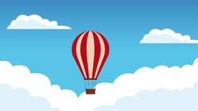 Hot air balloon travel HD animation. Hot air balloon flying in the skies High Definition colorful animation scenes stock footage