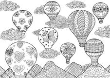 Hot air balloon flying, zentangle stylized for coloring book for anti stress for both adult and children - stock  Royalty Free Stock Photos