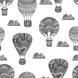Hot air balloon, gas balloons, aircraft. Seamless black and whit Stock Photography