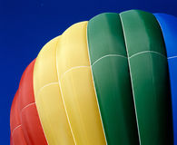 Hot Air Balloon, Gatineau Quebec Canada. A hot air balloon displays color palette on landing. Ottawa Ontario Hot Air Balloon Festival. 6x7 drum scan stock photography