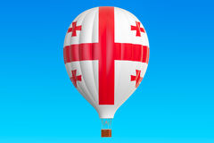 Hot air balloon with Georgian flag, 3D rendering Royalty Free Stock Photo