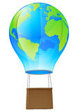 Hot air balloon globe. Illustration of a world globe hot air balloon Royalty Free Stock Photography