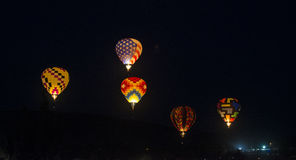 Hot Air Balloon. Glowing hot air balloons Stock Images