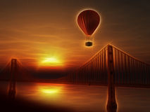 Hot Air Balloon and Golden Gate Bridge Stock Images