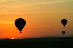 Hot air balloon on the grasslands of Africa Royalty Free Stock Photo