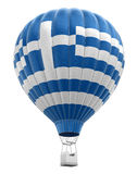 Hot Air Balloon with Greek Flag (clipping path included) Royalty Free Stock Photo