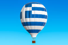 Hot air balloon with Greek flag, 3D Royalty Free Stock Photography