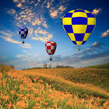 Hot air balloon with green field and blue sky Royalty Free Stock Images