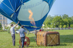 Hot air balloon on the ground Royalty Free Stock Images